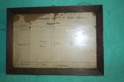 Herbert's baptism certificate